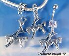 Rodeo Horse Western Cowgirl Charms For Bracelets Slide or Clip On OR Belly Ring