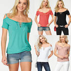UK Women Short Sleeve Lace Up Neck T-Shirt Ladies Summer Casual Tops Blouse 6-18