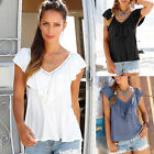 UK Women Short Sleeve V Neck T-Shirt Ladies Summer Casual Loose Tops Blouse 6-18