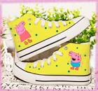 Hot! Peppa Pig New Hand Painted Printed Canvas Kids Adults casual shoes