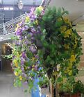 Artificial Silk Morning Glory Flower Trailing Ivy Rattan Hanging Summer Basket