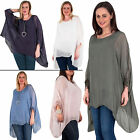 New Womens Cuff Trim Under Layer Plain Silk Lace Baggy Top Plus Size 14-24