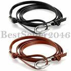 Charm Multilayer Winding Leather Rope Hook Buckle Womens Mens Bracelet Wristband