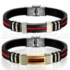 Men's Stainless Steel Black Silicone Inlaid Braided Leather Bracelet Bangle Cuff