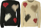 Womens Knitted Jumper Top Ladies Heart Print Long Sleeve Crew Neck New 8-14