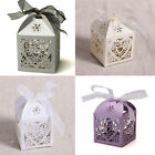 25/50/100 Wedding Party Supplies Love Heart Laser Cut Candy Gift Box With Ribbon