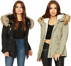 Womens Faux Fur Parka Coat Jacket Ladies Hooded Zip Up Pocket Long Sleeve 8-14
