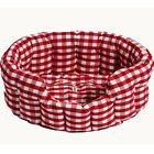 Small / Large Round Fabric Cherry Red Gingham Dog / Cat / Pet Bed by Win Green