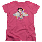 Betty Boop with SURF BOARD on Beach Licensed Women's T-Shirt All Sizes $27.44 USD