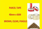 Packing Parcel Box Buff Brown Clear Fragile 48mm x 66M Rolls Tape 1 2 6 12 24 72
