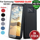 For SAMSUNG GALAXY S8/ S8+ HEAVY DUTY IMPACT Case Cover Tempered Glass Protector