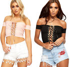 Womens Ribbed Raw Edging Crop Top Ladies Eyelet Lace Up Short Sleeve New 8-14