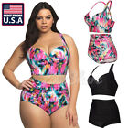 PLUS SIZE Women Tankini Bikini Set Push up Padded Swimsuit Bathing Suit Swimwear