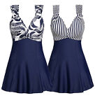 Womens Navy Strapys Swimdress Striped/Flower Dress Swimsuit Swimwear 16 14 12 10