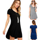 Womens Summer A-Line V Neck Casual Loose Short Sleeve Cotton Short Mini Dress