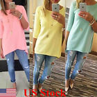 US Plus Size Women Loose Pullover T Shirt Long Sleeve Cotton Tops Shirt Blouse