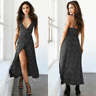 Women Spaghetti Strap Dress Deep V-Neck Summer Casual Low-Cut Floral Naxi Dress