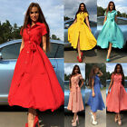 NEW Women Short Sleeve Button Turn-down Party Cocktail Casual Long Shirt Dress