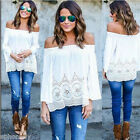 US New Fashion Women Summer Cotton Blouse Off Shoulder Loose Casual T Shirt Tops фото