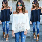 US New Fashion Women Summer Cotton Blouse Off Shoulder Loose Casual T Shirt Tops