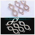 """30x8mm 2pcs """"8""""  Fine Alloy Rhinestone Jewelry Finding Connector Bracelet Charms"""