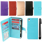 For HTC Desire 626 626S Flip Card Holder Cash Slots Wallet Cover Case + Pen