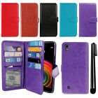 For LG X Power LS755 US610 K450 K220 Flip Card Holder Wallet Cover Case + Pen