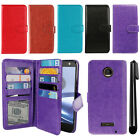 For Motorola Moto Z Force Droid Edition Flip Card Holder Wallet Cover Case + Pen