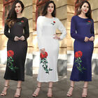Vintage Women Long Sleeve Rose Printed Dress Bodycon Evening Party Club 6349P