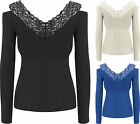 Womens Lurex Lace Party Top Ladies Knitted Cut Out Cold Shoulder Long Sleeve
