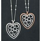 Equilibrium Silver Plated Filigree Hearts Long Pendant Necklace Sold Separately