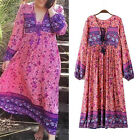 Vintage Women Ethnic Boho Hippie Gypsy Floral Loose Beach Long Dress Bloggers