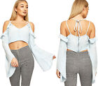 Womens Chambray Denim Strappy Cold Shoulder Crop Top Ladies Long Sleeve Zip