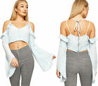 Womens Chambray Denim Strappy Could Shoulder Crop Top Ladies Long Sleeve Zip