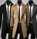 Mens Blend Slim Fit Long Trench Lapel Collar Jacket Outwear Pea Coat
