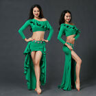 New 2017 Women Belly Dance Costumes Performance Club Stage 2Pics Top &Long Skirt