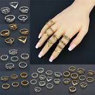 11 Pcs/Set Rings Moon Star Sun Flower Totem Retro  Carved Knuckle Rings Set New