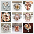 Elegant Women 925 Sterling Silver Morganite Wedding Bridal Gifts Ring Jewelry