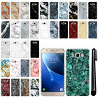 For Samsung Galaxy J7 J710 2nd Gen 2016 Marble Design HARD Back Case Cover + Pen