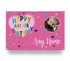 PERSONALISED PINK HAPPY BIRTHDAY PHOTO BANNER COLOURFUL HEARTS 4 SIZES