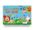 PERSONALISED JUNGLE HAPPY BIRTHDAY BANNER COLOURFUL ANIMALS DESIGN PARTY