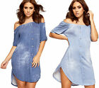 Womens Bardot Button Denim Mini Dress Ladies Off Shoulder Short Sleeve Stretch