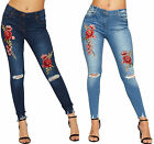 Women Distressed Denim Blue Jeans Ladies Red Rose Floral Skinny Button Zip New