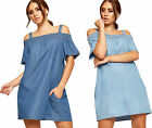 Womens Strappy Denim Mini Dress Ladies Cut Out Cold Shoulder Short Sleeve New