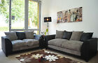 New Byron Fabric Jumbo Cord Black and Grey Sofas in Corners and 3+2+1 Seaters