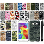 For Samsung Galaxy Core Prime G360 Camo Design HARD Back Case Phone Cover + Pen