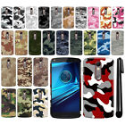 For Motorola Droid Turbo 2 Kinzie XT1585 Camo Design HARD Back Case Cover + Pen