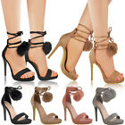 Womens Ladies Pom Pom Fluffy High Heel Sandals Party Platform Shoes Size 3-8