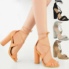 Womens Ladies High Block Heel Lace Tie Up Party Sandals Peep Toe Shoes Size New