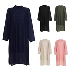 Womens Ladies Midi Tunic Roll Up Dress Shirt Top Netted Casual Abaya Summer